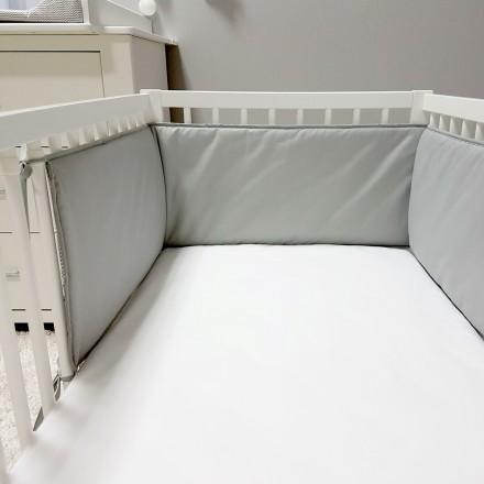 Baby-Joy Nestchen für Babybetten ZICK ZACK Linie 100% Baumwolle 00 Grau uni