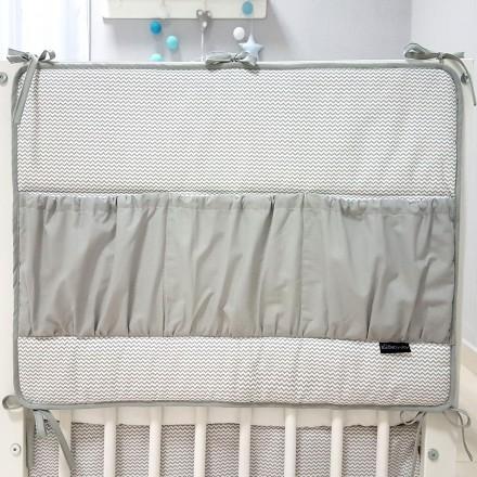 Baby-Joy Betttasche ZICK ZACK Linie 100% Baumwolle Utensilo Hängeaufbewahrung 00 Grau uni