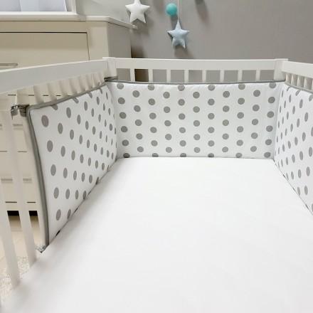 Baby-Joy Nestchen für Babybetten ZICK ZACK Linie 100% Baumwolle 01 Punkte