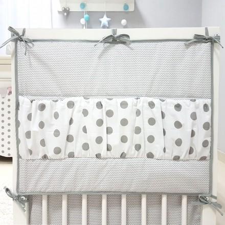 Baby-Joy Betttasche ZICK ZACK Linie 100% Baumwolle Utensilo Hängeaufbewahrung 01 Punkte