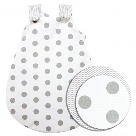 Baby-Joy Schlafsack ZICK-ZACK Linie Winterschlafsack 100% Baumwolle WARM gefüttert Größe: 68/74 | Design: 01 Punkte
