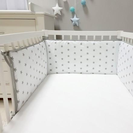 Baby-Joy Nestchen für Babybetten ZICK ZACK Linie 100% Baumwolle 02 Sterne groß