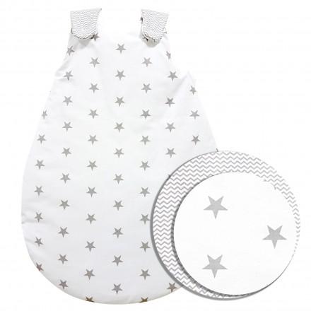 Baby-Joy Schlafsack ZICK-ZACK Linie Winterschlafsack 100% Baumwolle WARM gefüttert Größe: 56/62 | Design: 02 Sterne groß