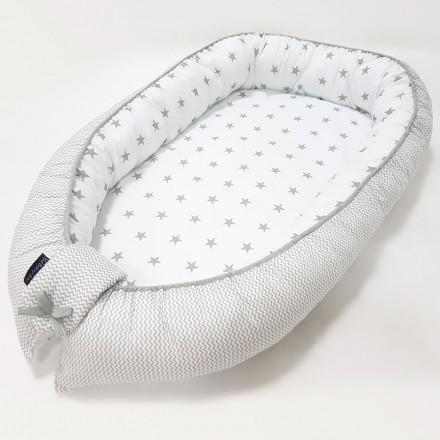Baby-Joy Babynest Kokon Baby-Reisebett Baby Pod | ZICK ZACK Linie 100% Baumwolle 02 Sterne groß