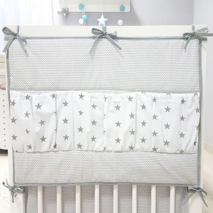 Baby-Joy Betttasche ZICK ZACK Linie 100% Baumwolle Utensilo Hängeaufbewahrung 02 Sterne groß