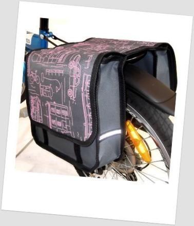 Baby-Joy Fahrradtasche JOY Kinderfahrradtasche Satteltasche Gepäckträgertasche 2 x 5 Liter 02 City Pink