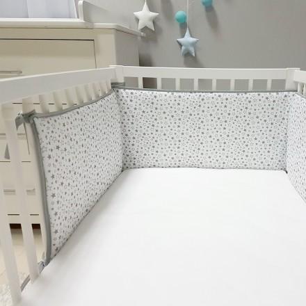 Baby-Joy Nestchen für Babybetten ZICK ZACK Linie 100% Baumwolle 03 Sterne klein