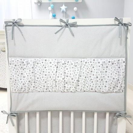 Baby-Joy Betttasche ZICK ZACK Linie 100% Baumwolle Utensilo Hängeaufbewahrung 03 Sterne klein