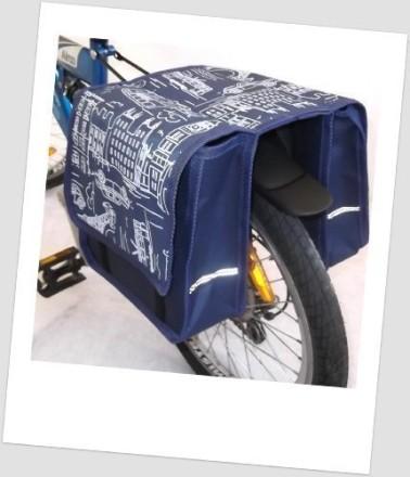 Baby-Joy Fahrradtasche JOY Kinderfahrradtasche Satteltasche Gepäckträgertasche 2 x 5 Liter 03 City Navy