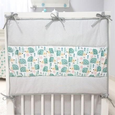 Baby-Joy Betttasche ZICK ZACK Linie 100% Baumwolle Utensilo Hängeaufbewahrung 04 Igel