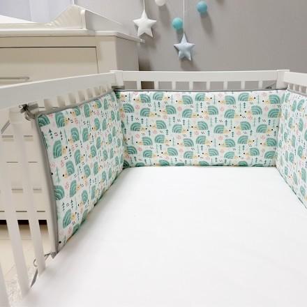 Baby-Joy Nestchen für Babybetten ZICK ZACK Linie 100% Baumwolle 04 Igel