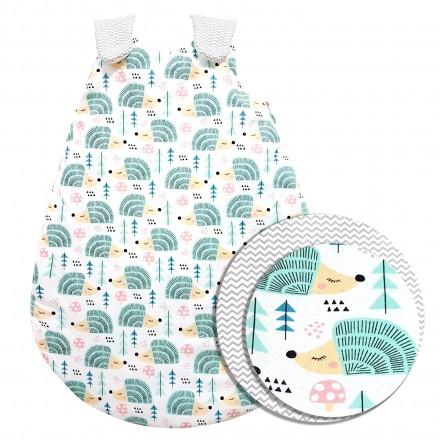 Baby-Joy Schlafsack ZICK-ZACK Linie Winterschlafsack 100% Baumwolle WARM gefüttert Größe: 56/62 | Design: 04 Igel