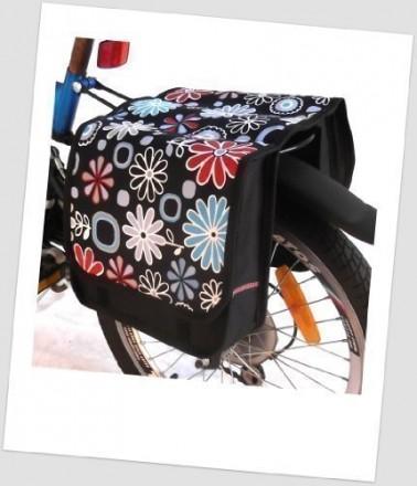 Baby-Joy Fahrradtasche JOY Kinderfahrradtasche Satteltasche Gepäckträgertasche 2 x 5 Liter 04 Flower SKY