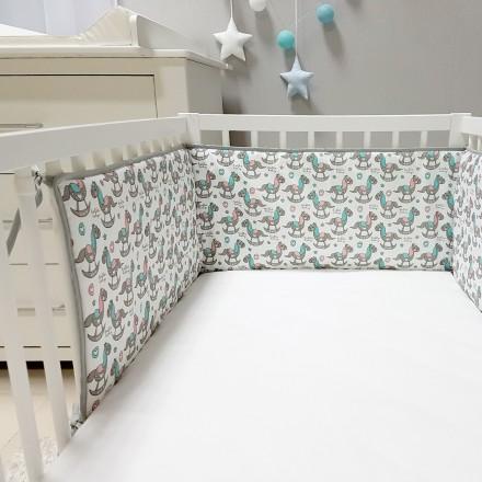 Baby-Joy Nestchen für Babybetten ZICK ZACK Linie 100% Baumwolle 05 Pony
