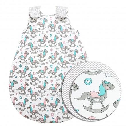 Baby-Joy Schlafsack ZICK-ZACK Linie Winterschlafsack 100% Baumwolle WARM gefüttert Größe: 56/62 | Design: 05 Pony