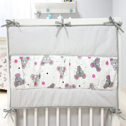 Baby-Joy Betttasche ZICK ZACK Linie 100% Baumwolle Utensilo Hängeaufbewahrung 06 Maus pink