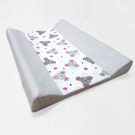 Baby-Joy Wickelunterlage Zick Zack Linie 100% Baumwolle Wickeltischauflage 06 Maus pink
