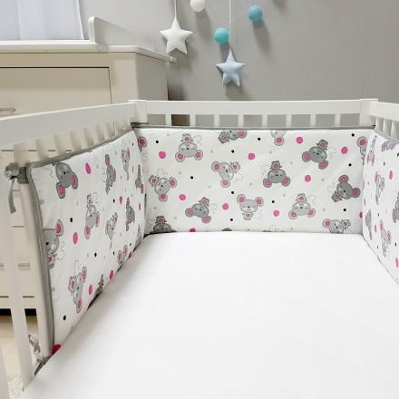 Baby-Joy Nestchen für Babybetten ZICK ZACK Linie 100% Baumwolle 06 Maus pink