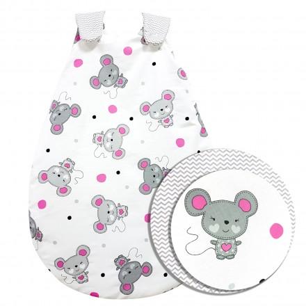 Baby-Joy Schlafsack ZICK-ZACK Linie Winterschlafsack 100% Baumwolle WARM gefüttert Größe: 68/74 | Design: 06 Maus pink