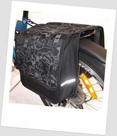 Baby-Joy Fahrradtasche JOY Kinderfahrradtasche Satteltasche Gepäckträgertasche 2 x 5 Liter 06 Letters Grey