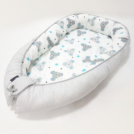 Baby-Joy Babynest Kokon Baby-Reisebett Baby Pod | ZICK ZACK Linie 100% Baumwolle 07 Maus türkis