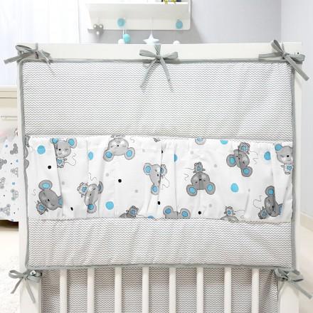 Baby-Joy Betttasche ZICK ZACK Linie 100% Baumwolle Utensilo Hängeaufbewahrung 07 Maus türkis