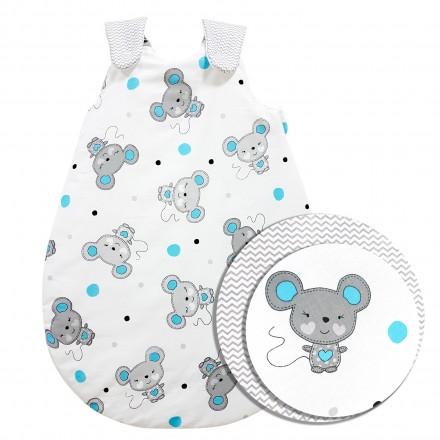 Baby-Joy Schlafsack ZICK-ZACK Linie Winterschlafsack 100% Baumwolle WARM gefüttert Größe: 56/62 | Design: 07 Maus türkis