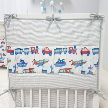 Baby-Joy Betttasche ZICK ZACK Linie 100% Baumwolle Utensilo Hängeaufbewahrung 08 Fahrzeuge