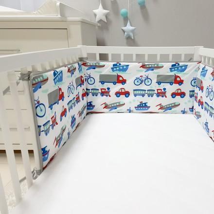 Baby-Joy Nestchen für Babybetten ZICK ZACK Linie 100% Baumwolle 08 Fahrzeuge