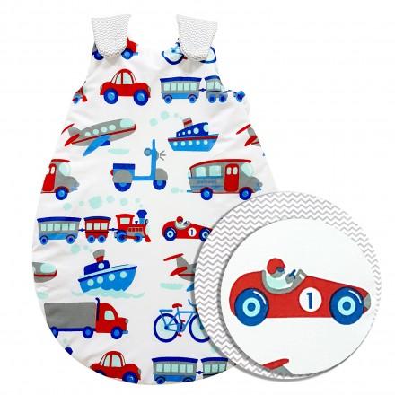 Baby-Joy Schlafsack ZICK-ZACK Linie Winterschlafsack 100% Baumwolle WARM gefüttert Größe: 56/62 | Design: 08 Fahrzeuge