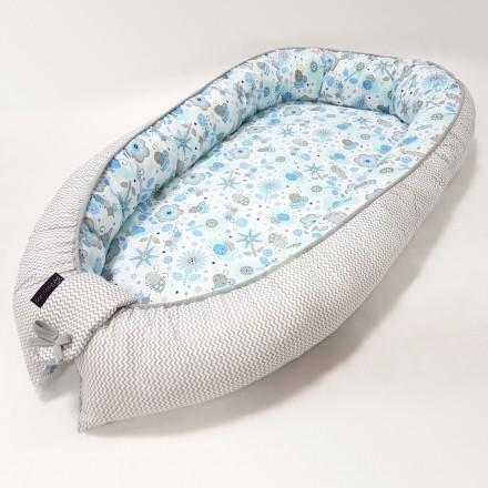 Baby-Joy Babynest Kokon Baby-Reisebett Baby Pod | ZICK ZACK Linie 100% Baumwolle 09 Biene