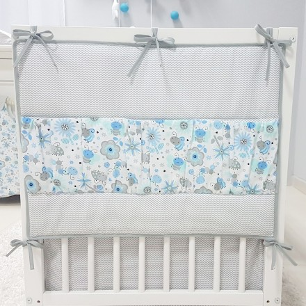 Baby-Joy Betttasche ZICK ZACK Linie 100% Baumwolle Utensilo Hängeaufbewahrung 09 Biene