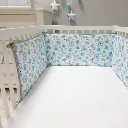 Baby-Joy Nestchen für Babybetten ZICK ZACK Linie 100% Baumwolle 09 Biene
