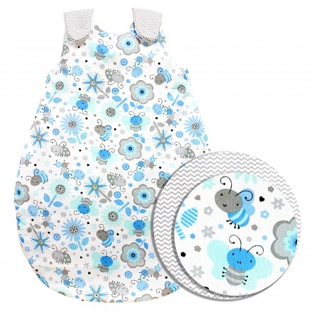 Baby-Joy Schlafsack ZICK-ZACK Linie Winterschlafsack 100% Baumwolle WARM gefüttert Größe: 56/62 | Design: 09 Biene