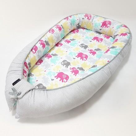 Baby-Joy Babynest Kokon Baby-Reisebett Baby Pod | ZICK ZACK Linie 100% Baumwolle 10 Elefant
