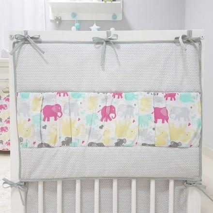 Baby-Joy Betttasche ZICK ZACK Linie 100% Baumwolle Utensilo Hängeaufbewahrung 10 Elefant
