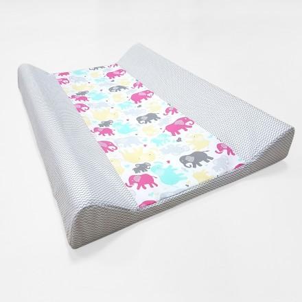 Baby-Joy Wickelunterlage Zick Zack Linie 100% Baumwolle Wickeltischauflage 10 Elefant