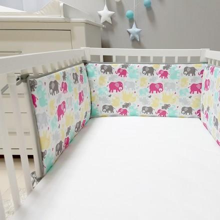 Baby-Joy Nestchen für Babybetten ZICK ZACK Linie 100% Baumwolle 10 Elefant