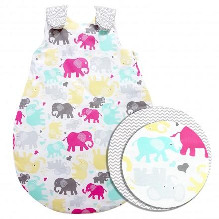 Baby-Joy Schlafsack ZICK-ZACK Linie Winterschlafsack 100% Baumwolle WARM gefüttert Größe: 56/62 | Design: 10 Elefant
