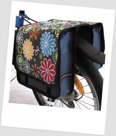 Baby-Joy Fahrradtasche JOY Kinderfahrradtasche Satteltasche Gepäckträgertasche 2 x 5 Liter 10 Flower Green