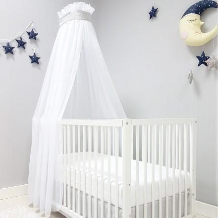 Baby-Joy Betthimmel für Babybett/Kinderbett ZICK-ZACK Linie Chiffon Moskitonetz 00 Grau