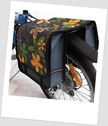 Baby-Joy Fahrradtasche JOY Kinderfahrradtasche Satteltasche Gepäckträgertasche 2 x 5 Liter 11 Flower Yellow