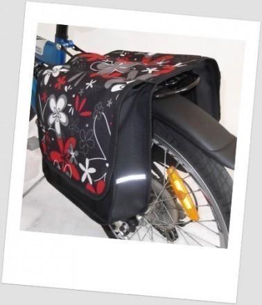 Baby-Joy Fahrradtasche JOY Kinderfahrradtasche Satteltasche Gepäckträgertasche 2 x 5 Liter 12 Flower Red