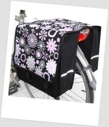 Baby-Joy Fahrradtasche JOY Kinderfahrradtasche Satteltasche Gepäckträgertasche 2 x 5 Liter 13 Flower Purple