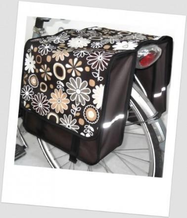 Baby-Joy Fahrradtasche JOY Kinderfahrradtasche Satteltasche Gepäckträgertasche 2 x 5 Liter 14 Flower Brown