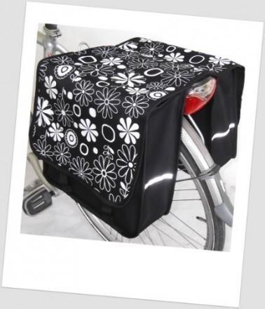 Baby-Joy Fahrradtasche JOY Kinderfahrradtasche Satteltasche Gepäckträgertasche 2 x 5 Liter 15 Flower White