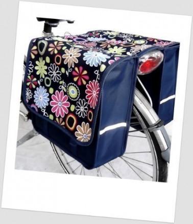 Baby-Joy Fahrradtasche JOY Kinderfahrradtasche Satteltasche Gepäckträgertasche 2 x 5 Liter 17 Flower Navy