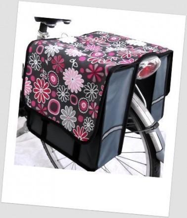 Baby-Joy Fahrradtasche JOY Kinderfahrradtasche Satteltasche Gepäckträgertasche 2 x 5 Liter 18 Flower Pink