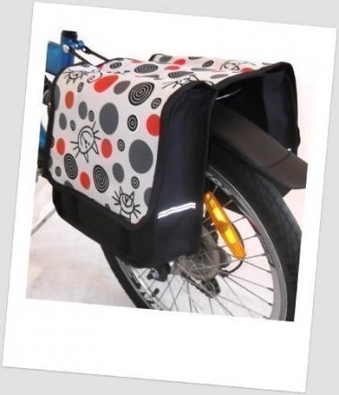 Baby-Joy Fahrradtasche JOY Kinderfahrradtasche Satteltasche Gepäckträgertasche 2 x 5 Liter 19 Cat Red