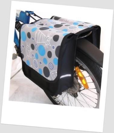 Baby-Joy Fahrradtasche JOY Kinderfahrradtasche Satteltasche Gepäckträgertasche 2 x 5 Liter 20 Cat Blue